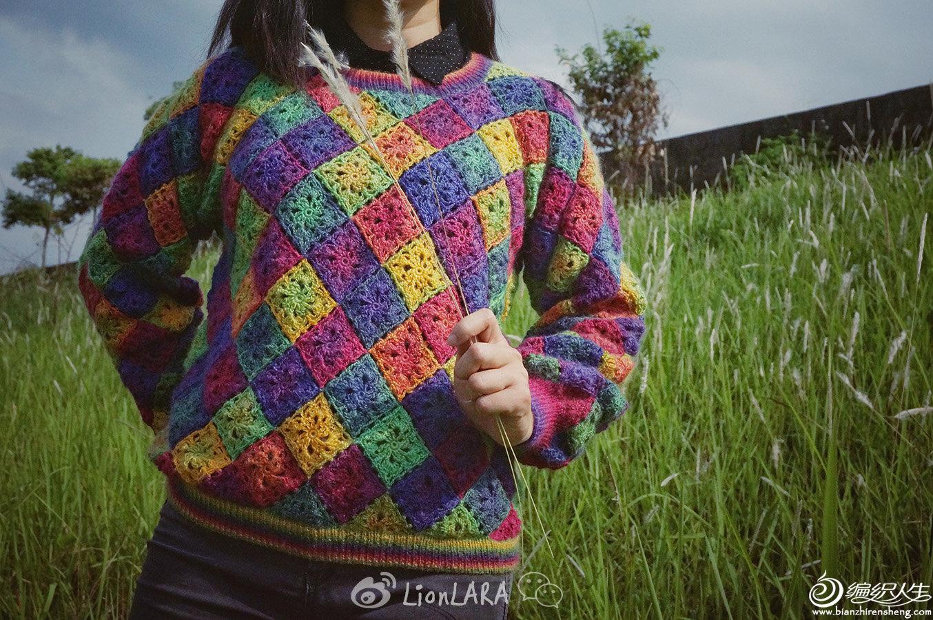 彩虹色钩针长袖毛衣